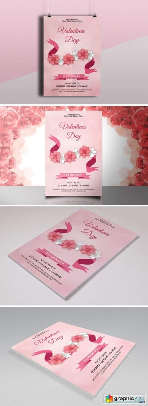 Valentine's Day Party Flyer Template 7874369