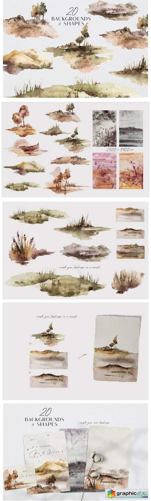 Watercolor Landscape Clipart Set