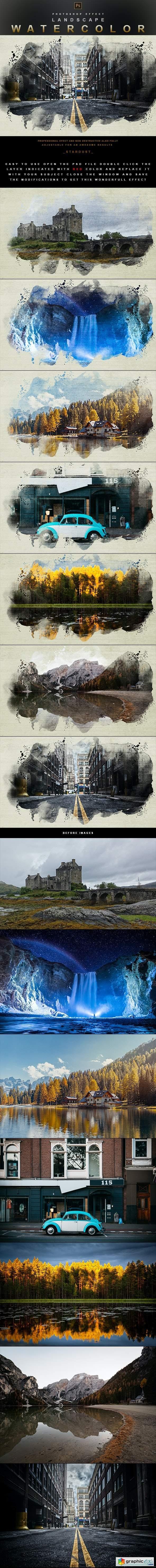 Landscape Watercolor - Photoshop Effect
