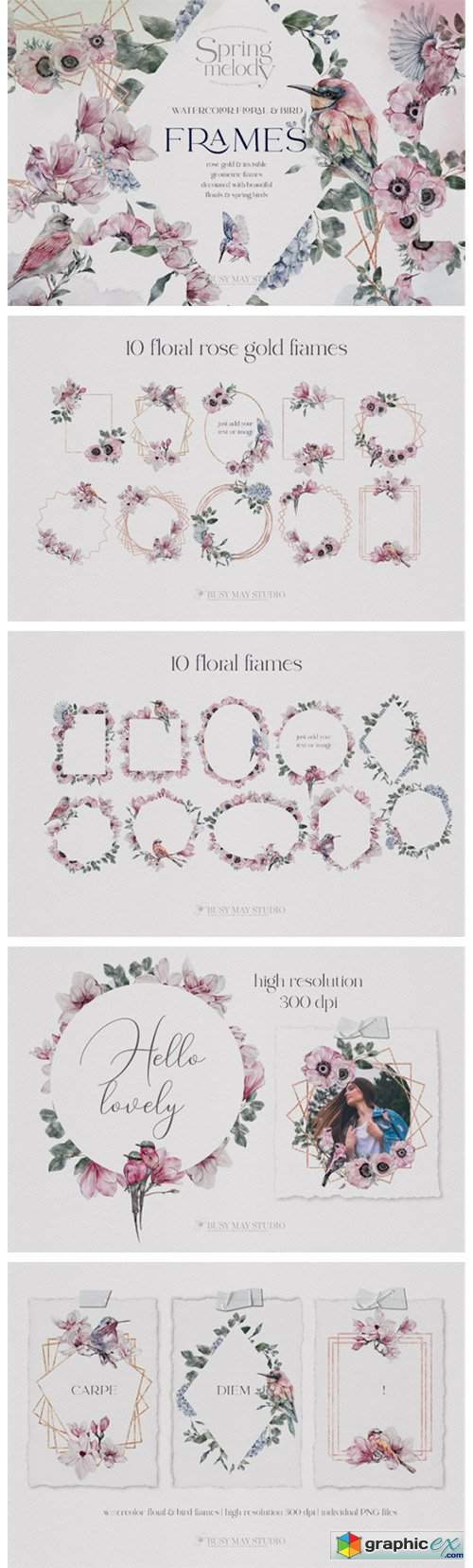 Watercolor Floral Rose Gold Frames PNG