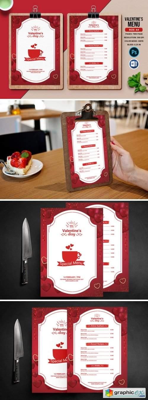 Valentines Day Party Menu Flyer