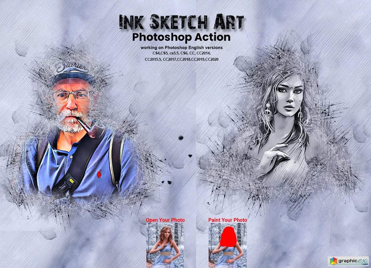 Ink Sketch Art Photoshop Action