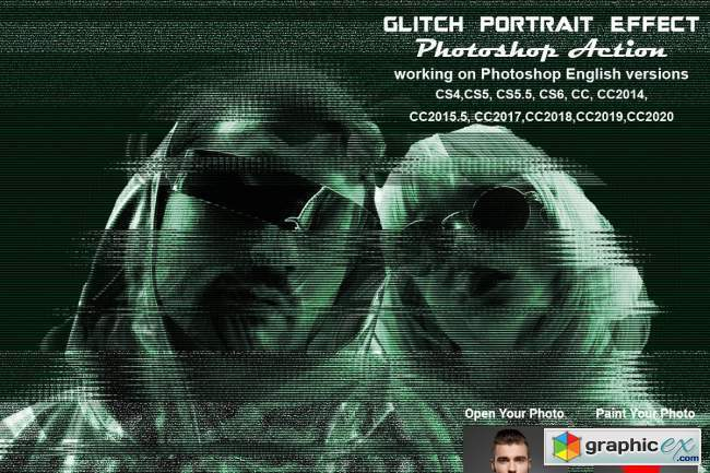 Glitch Portrait Effect PS Action