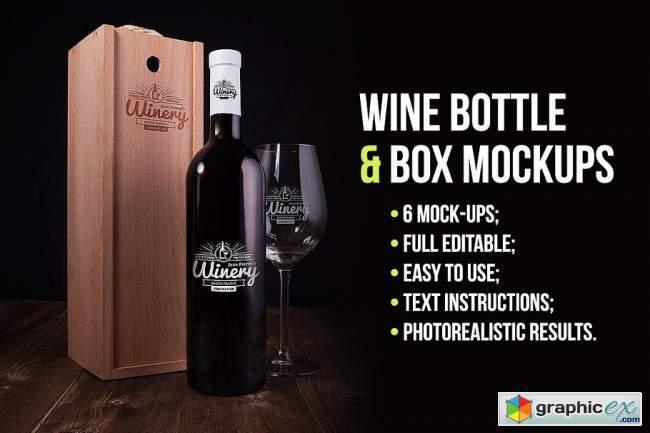 Wine Bottle and Box Mockups