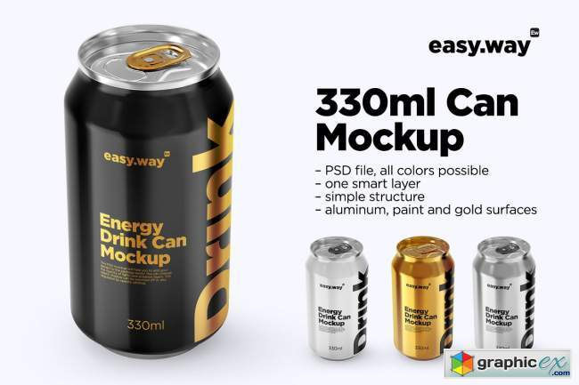 330ml Aluminum Can PSD Mockup