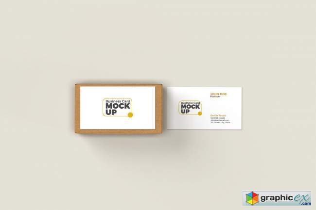 Business Card with Box Mockup 5717484