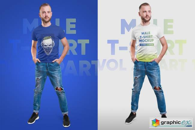 Male T-Shirt PSD Mockups Vol2
