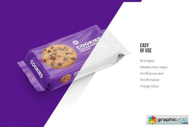 Flow Pack Cookies Mockup