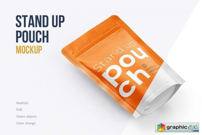 Stand Up Pouch Mockup Top Half Side
