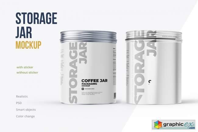 Metallic Storage Closed Jar Front