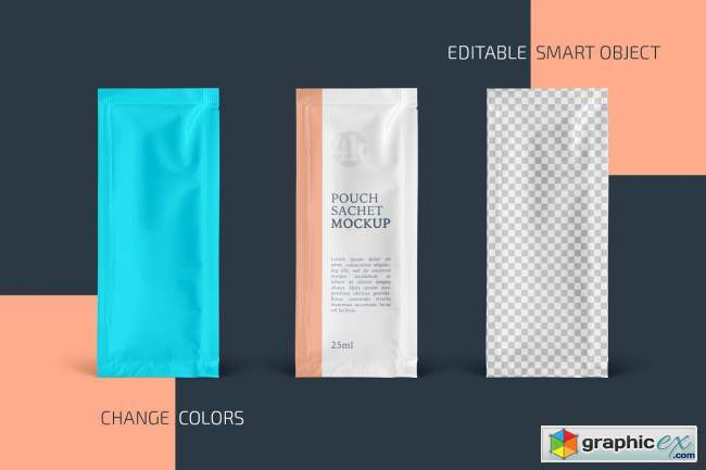 Rectangular Pouch Sachet Mockup Set