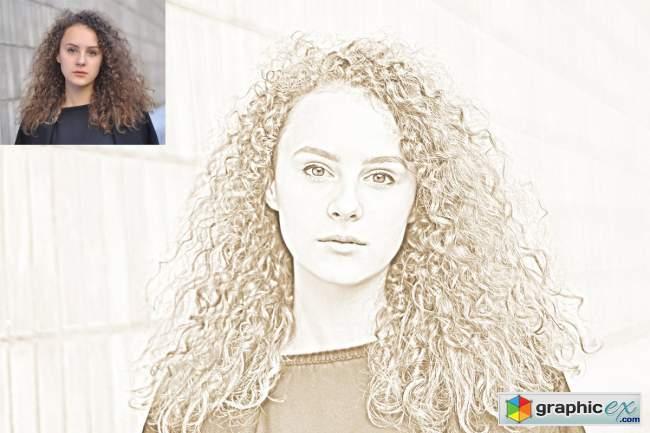 Pencil Sketch Art Photoshop Action 5129372