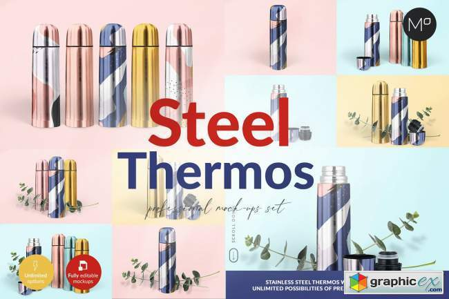 Steel Thermos Mock-ups