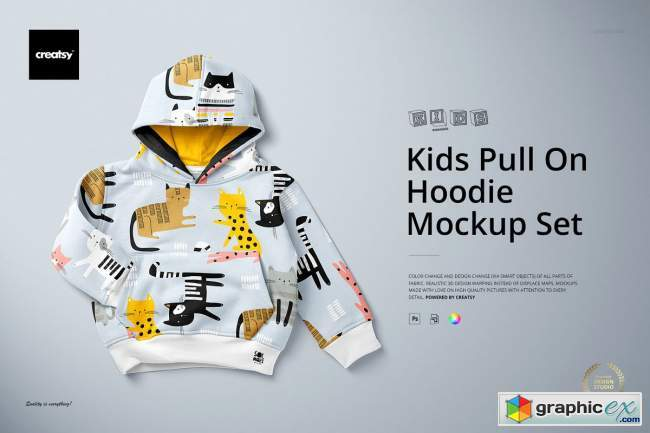 Kids Pull On Hoodie Mockup Set