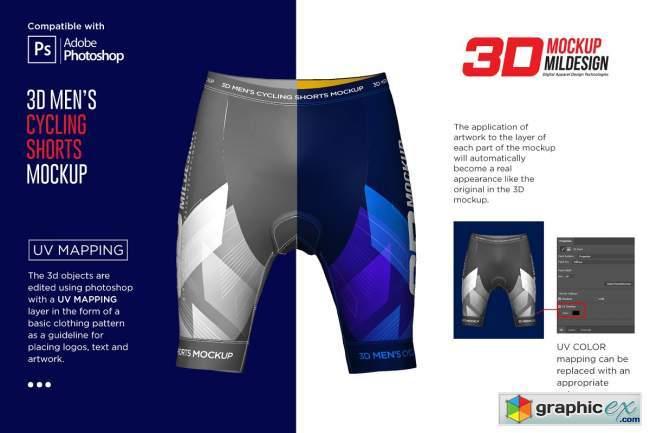 3D Men's Cycling Shorts Mockup