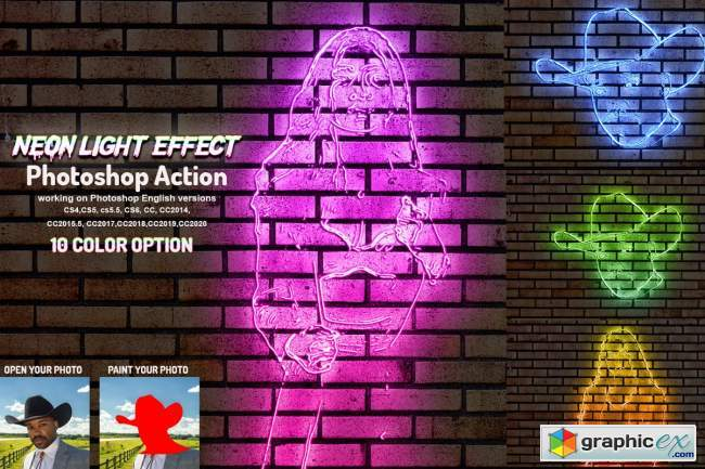 Neon Light Effect Photoshop Action