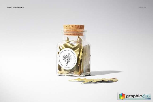 Spice Jar Round Labels Mockup Set
