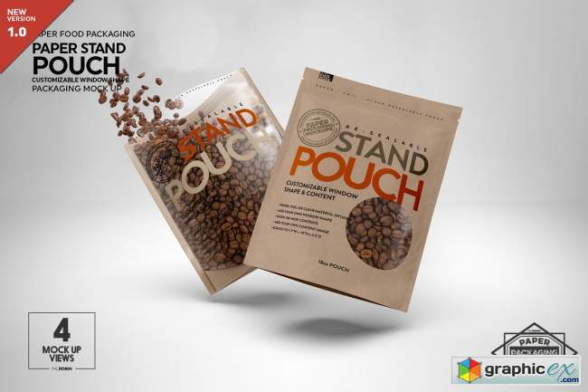 Paper Zip 18oz Pouch Packaging Mockup