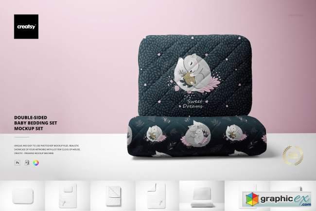 Double-sided Baby Bedding Set Mockup