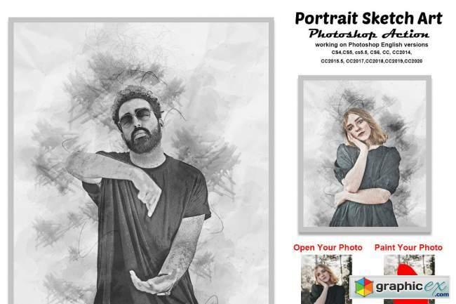 Portrait Sketch Art Photoshop Action
