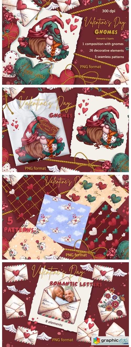 Valentine's Day. Gnomes. Holiday Clipart