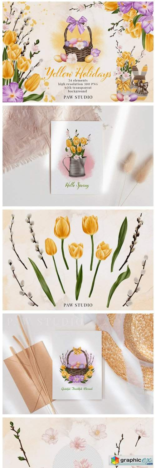 Easter Spring Clipart Yellow Tulips Eggs