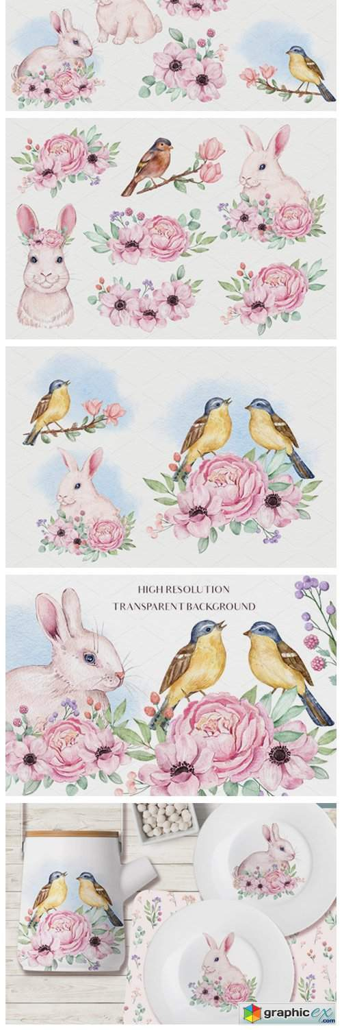 Fluffy Creatures - Watercolor Set