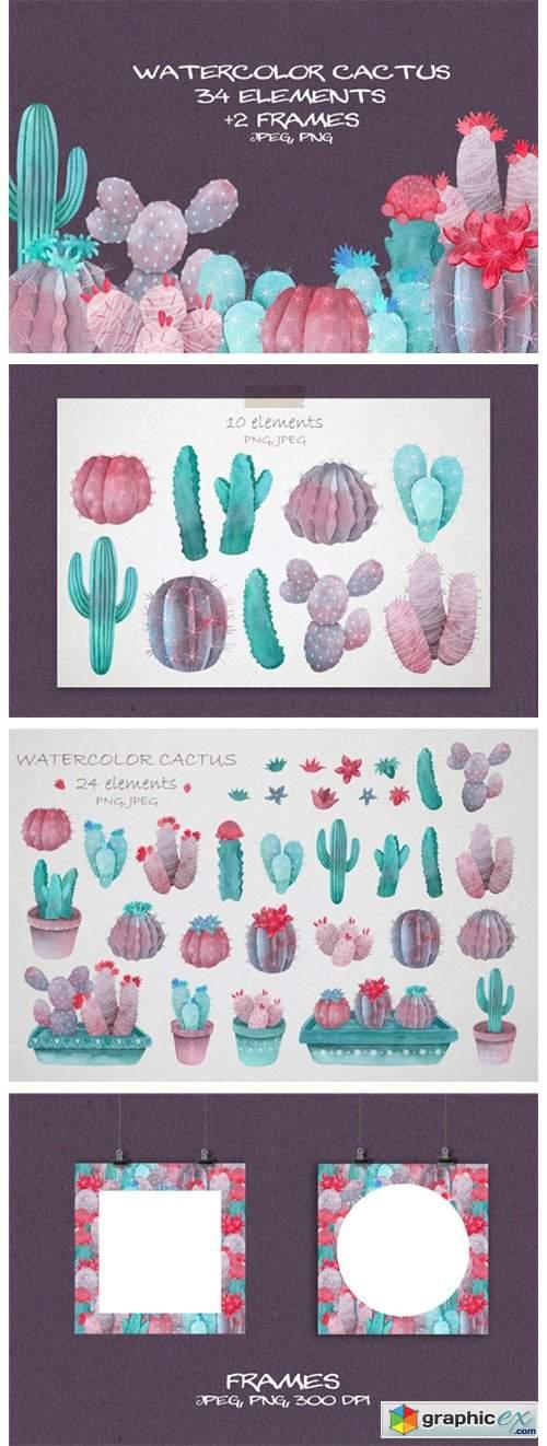 Violet Watercolor Cactus Clipart