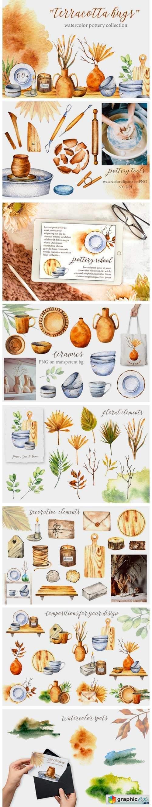 """Terracotta Hugs"" Watercolor Pottery Set"