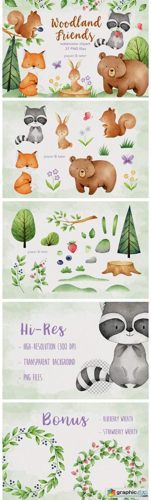 Watercolor Woodland Animals Clipart Set
