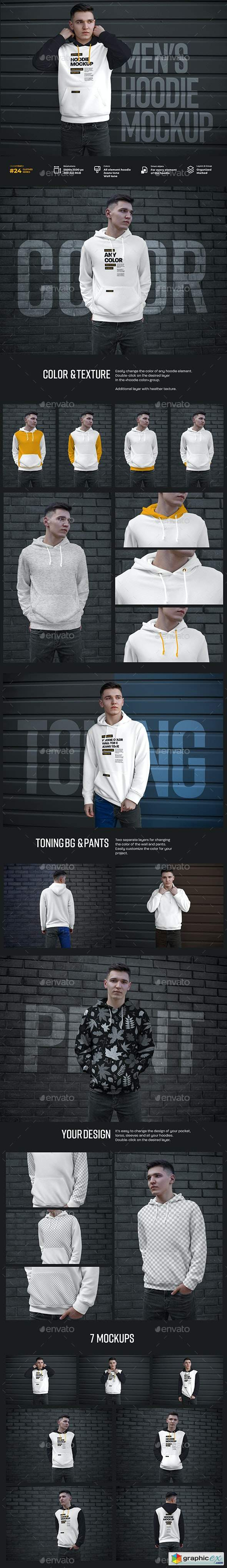 7 Mockups Hoodie on the Man. Urban Style