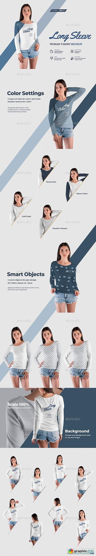 8 Long Sleeve Woman T-Shirt Mockup
