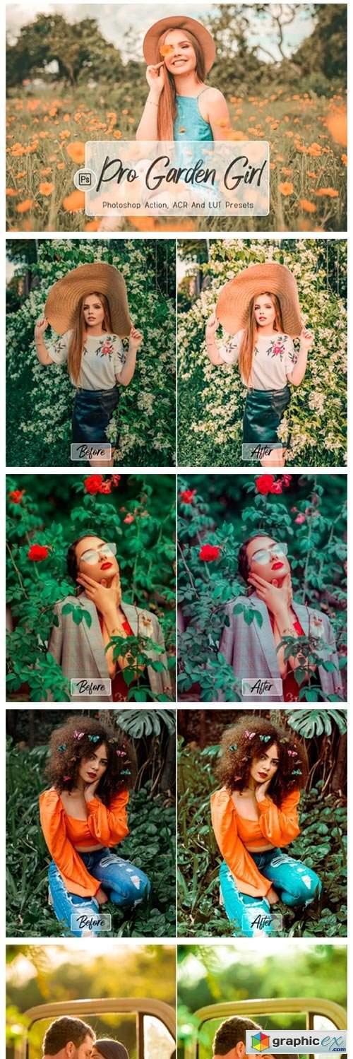 10 Pro Garden Girl fotoshop Actions