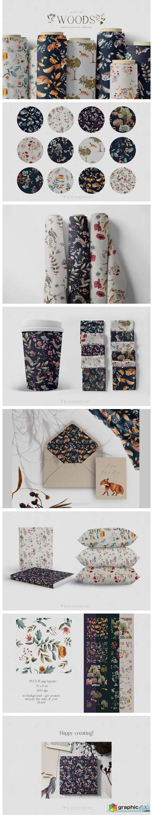 Woodland Scene Seamless Patterns JPEG
