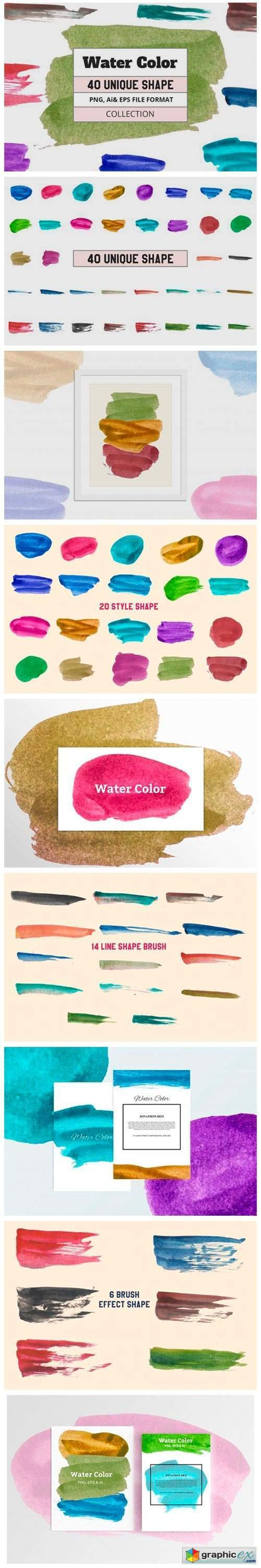 40 Vector Water Color Object