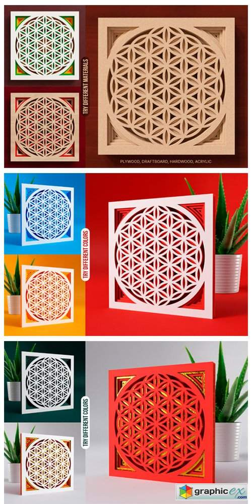 Flower of Life 3D Layered SVG Cut File