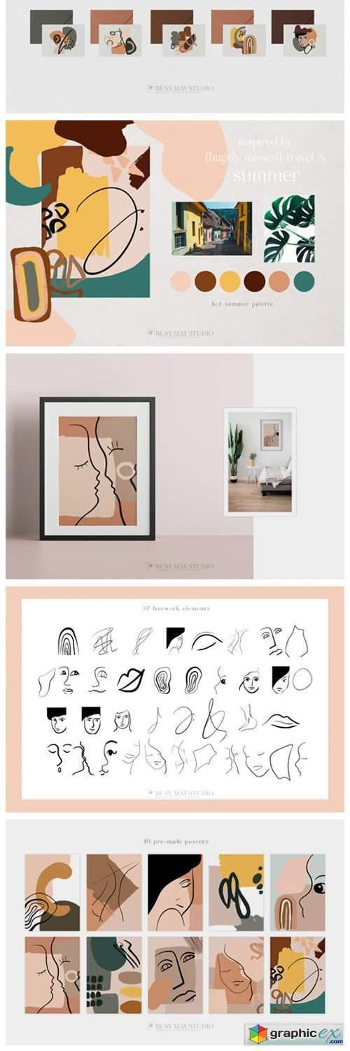 Abstract Art Organic Shape Creator Lines
