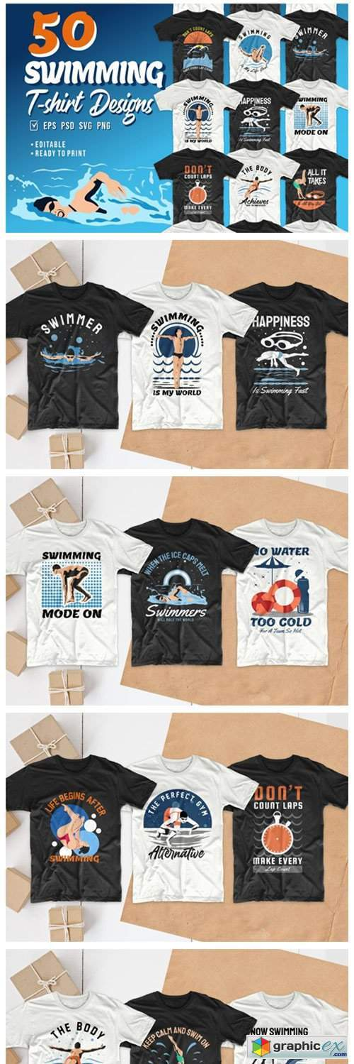 Swimming T-shirt Designs Bundle