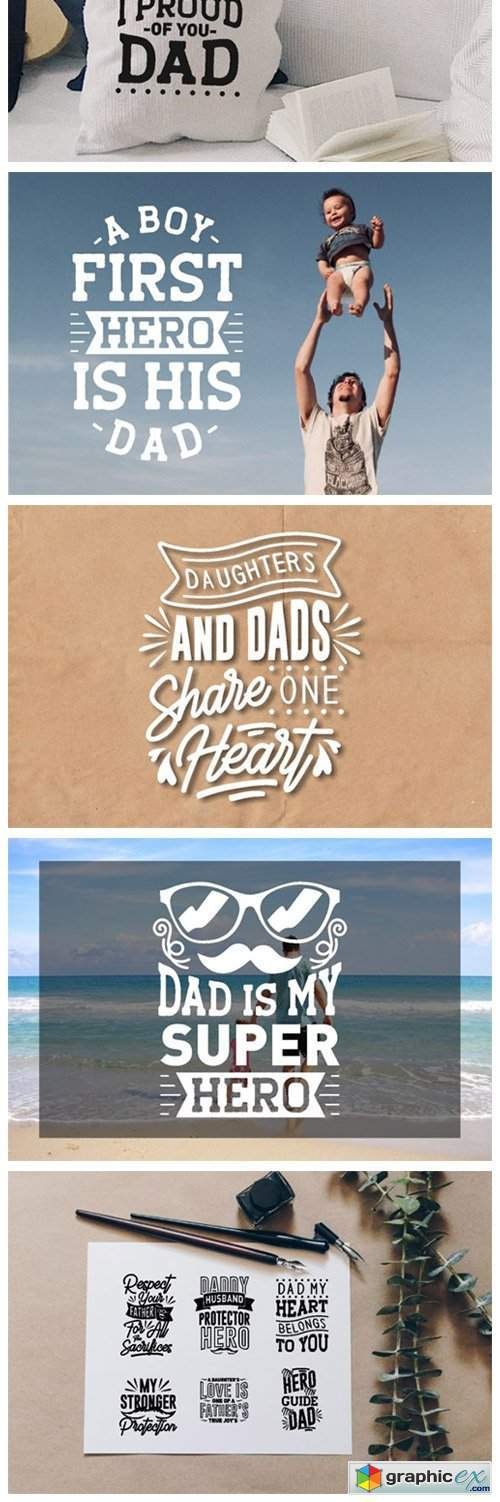 Dad SVG Quotes Bundle Lettering