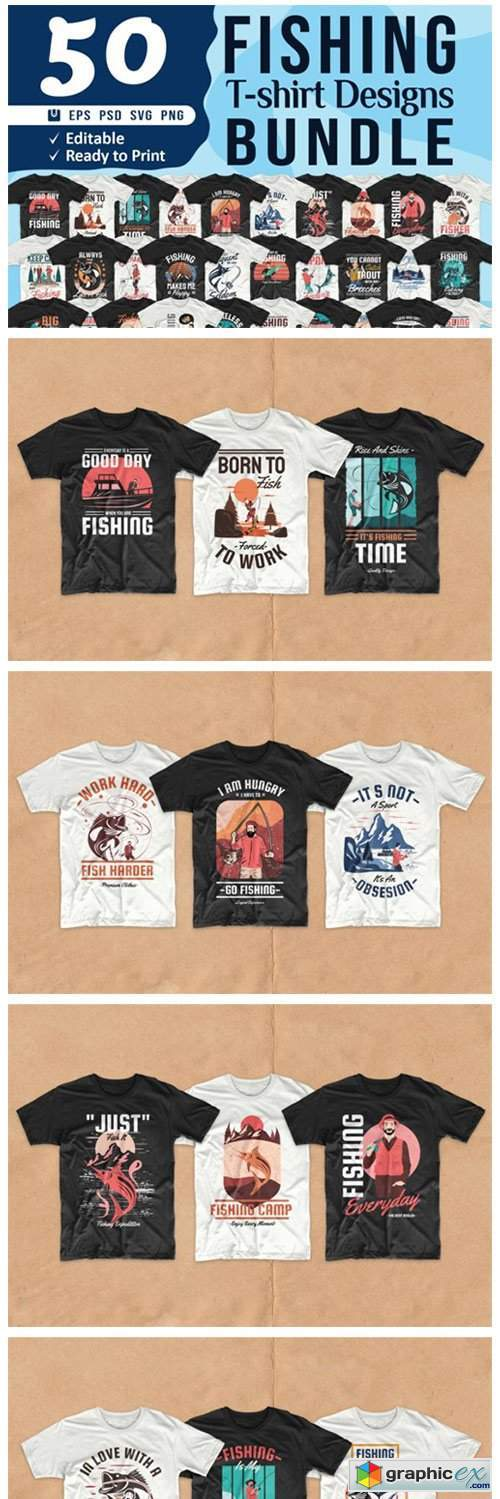 Download Fishing T Shirt Designs Bundle Vector Free Download Vector Stock Image Photoshop Icon