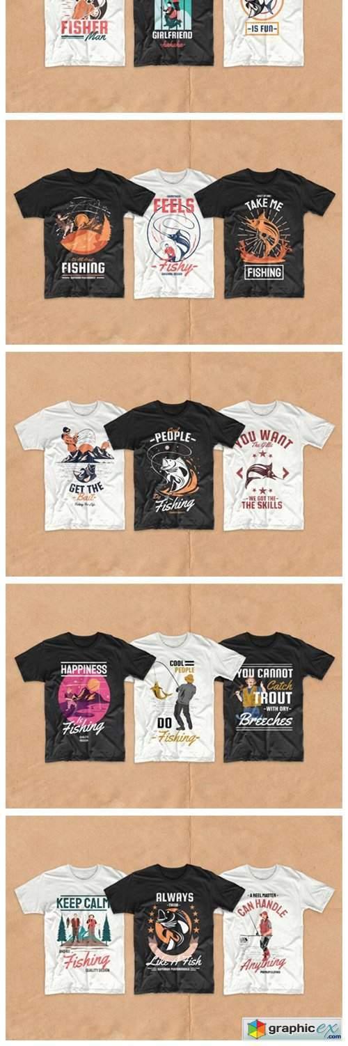 Fishing T-shirt Designs Bundle Vector