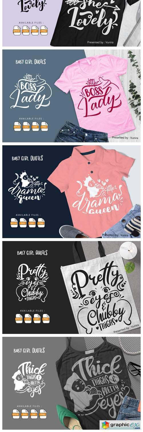 10 Baby Girl Bundle | Lettering Quotes
