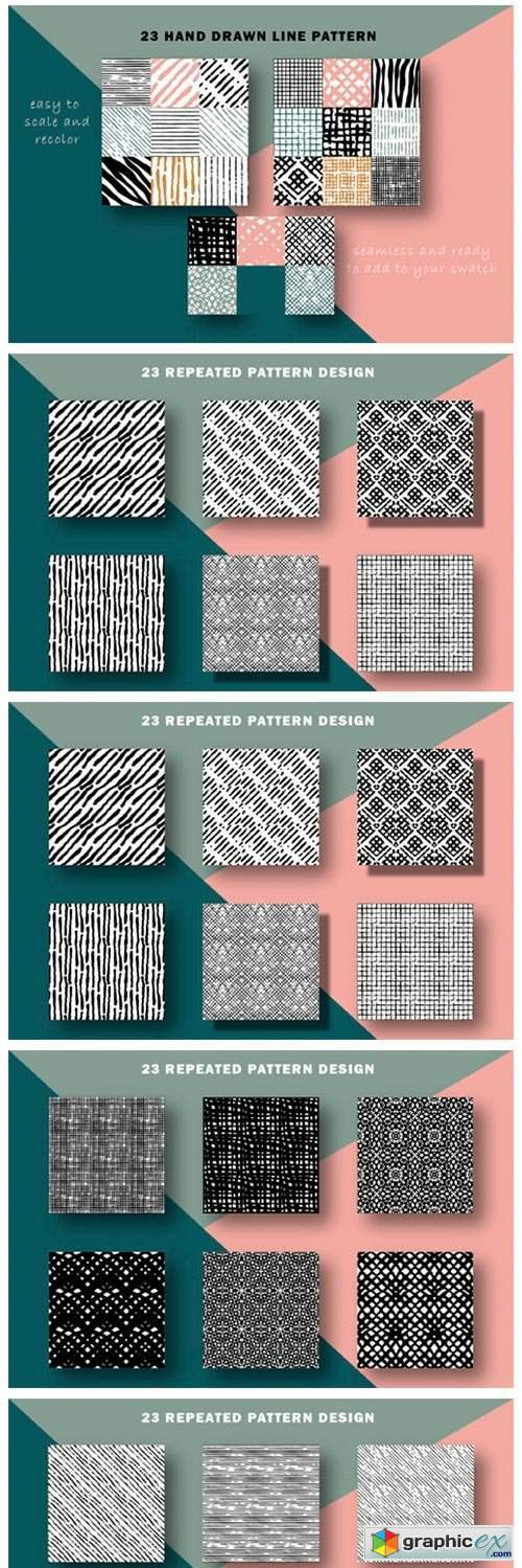 Hand Drawn Lines Patterns Collection