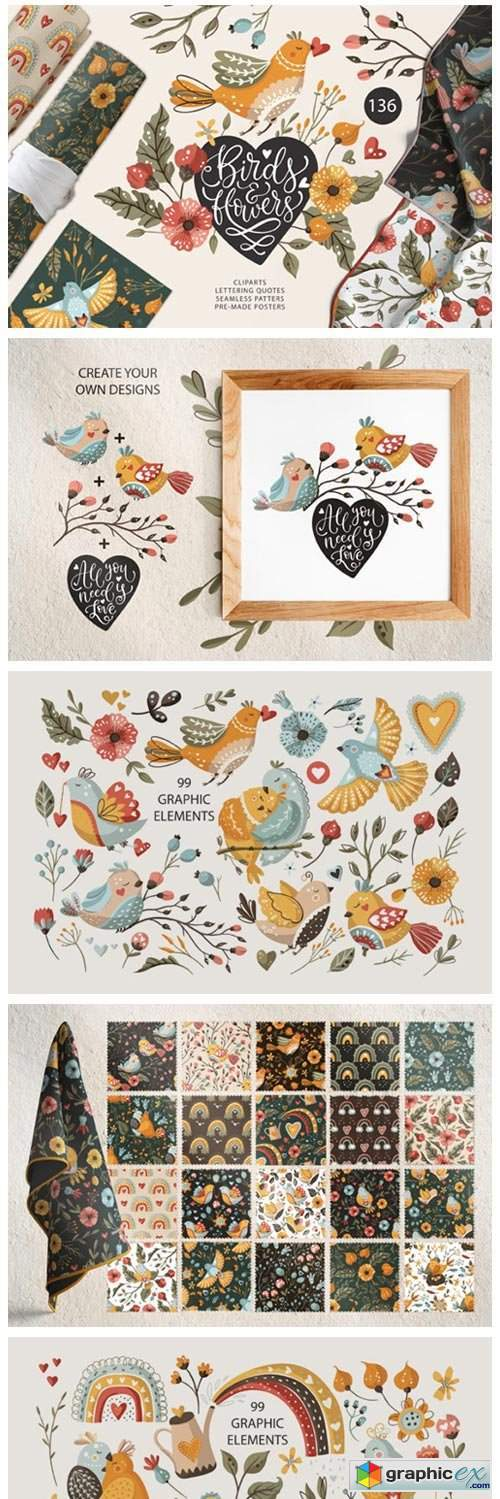 Birds & Flowers. Spring Floral Bundle