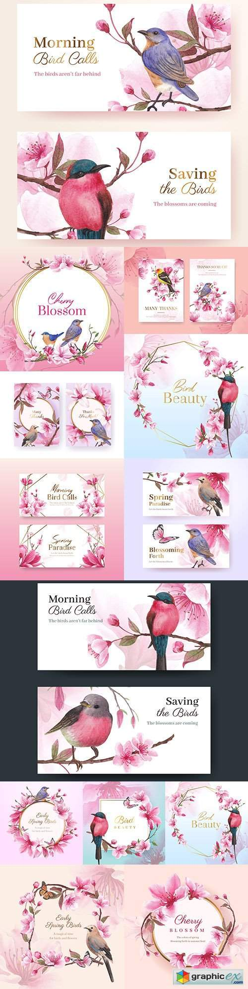 Thank you, design card with flowers and birds watercolor