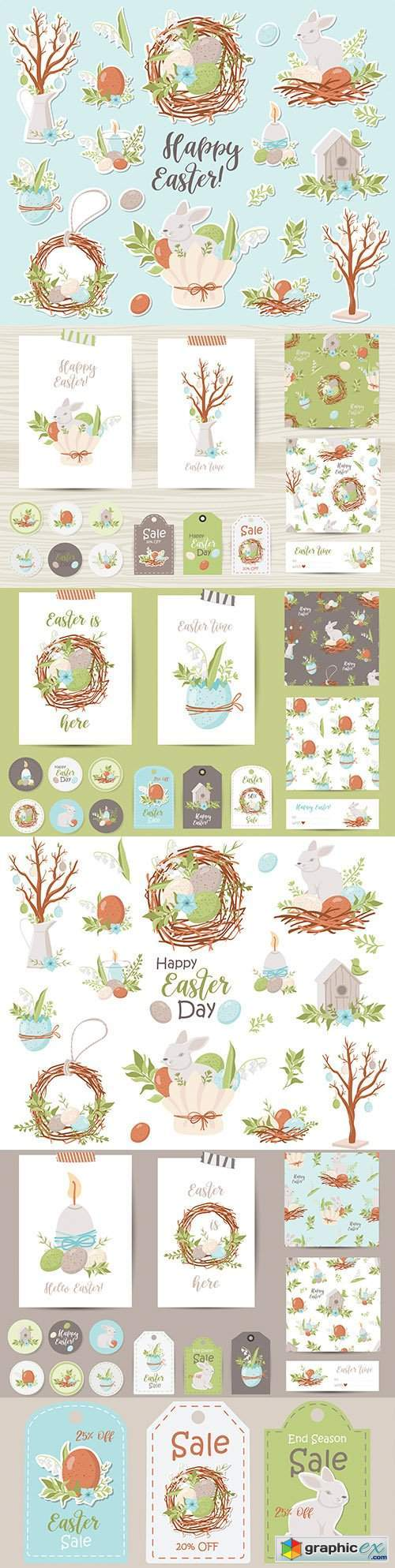 Happy Easter funny rabbit stickers and holiday elements