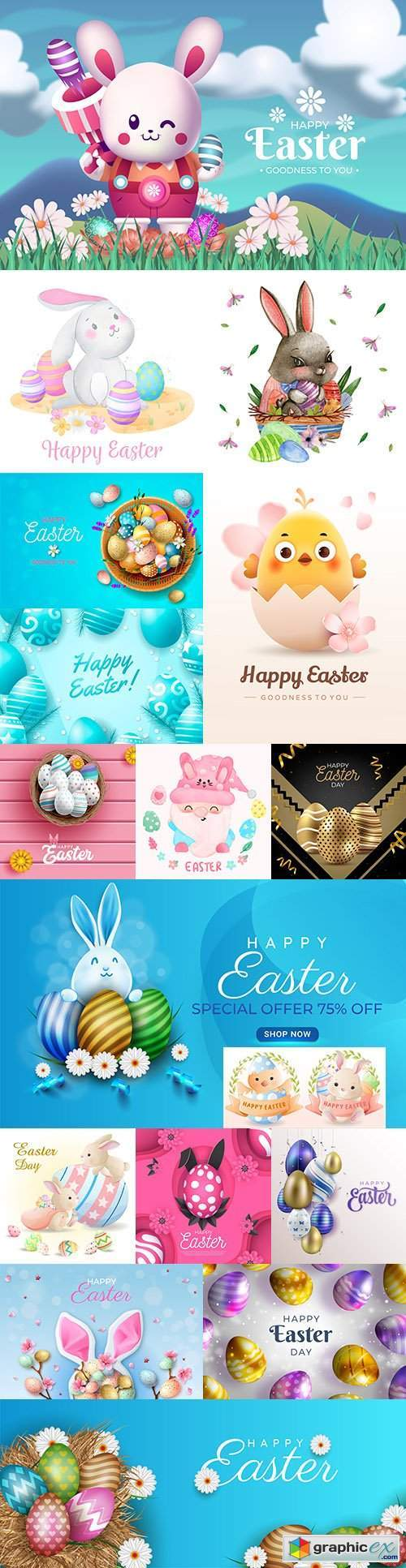 Happy Easter background and design banner with colorful eggs