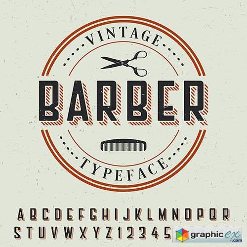 Barber vintage typeface poster with sample label design and letters
