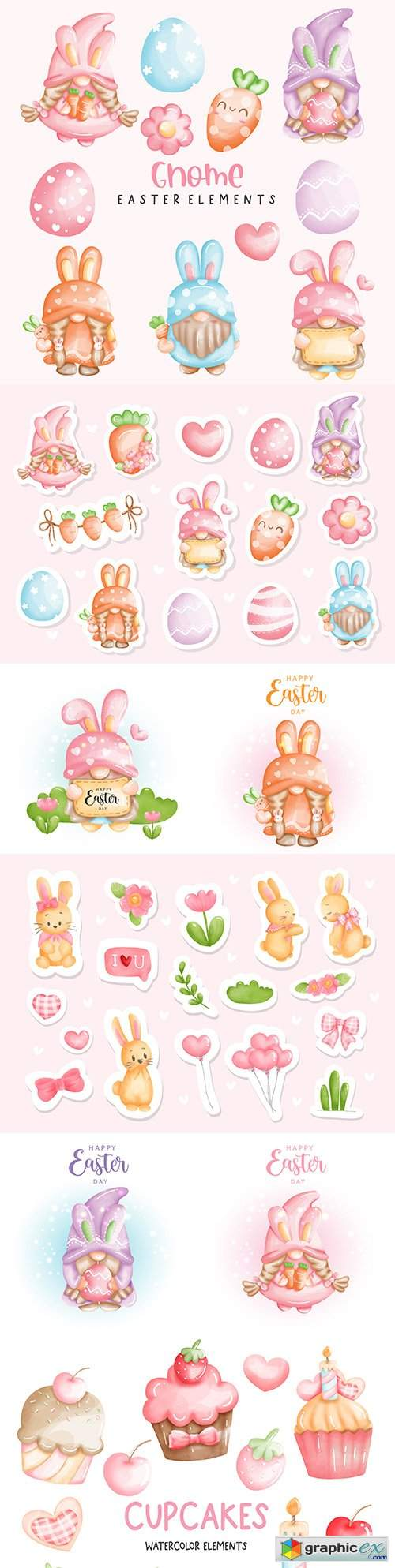 Happy Easter with cute gnome and watercolor stickers