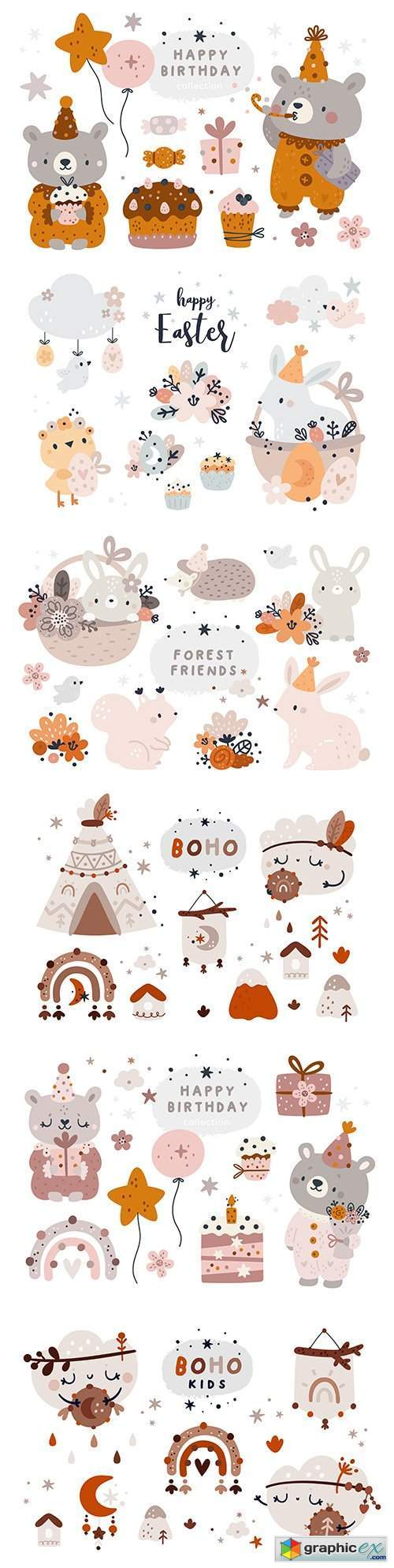 Cute animal design elements in Scandinavian and boho style